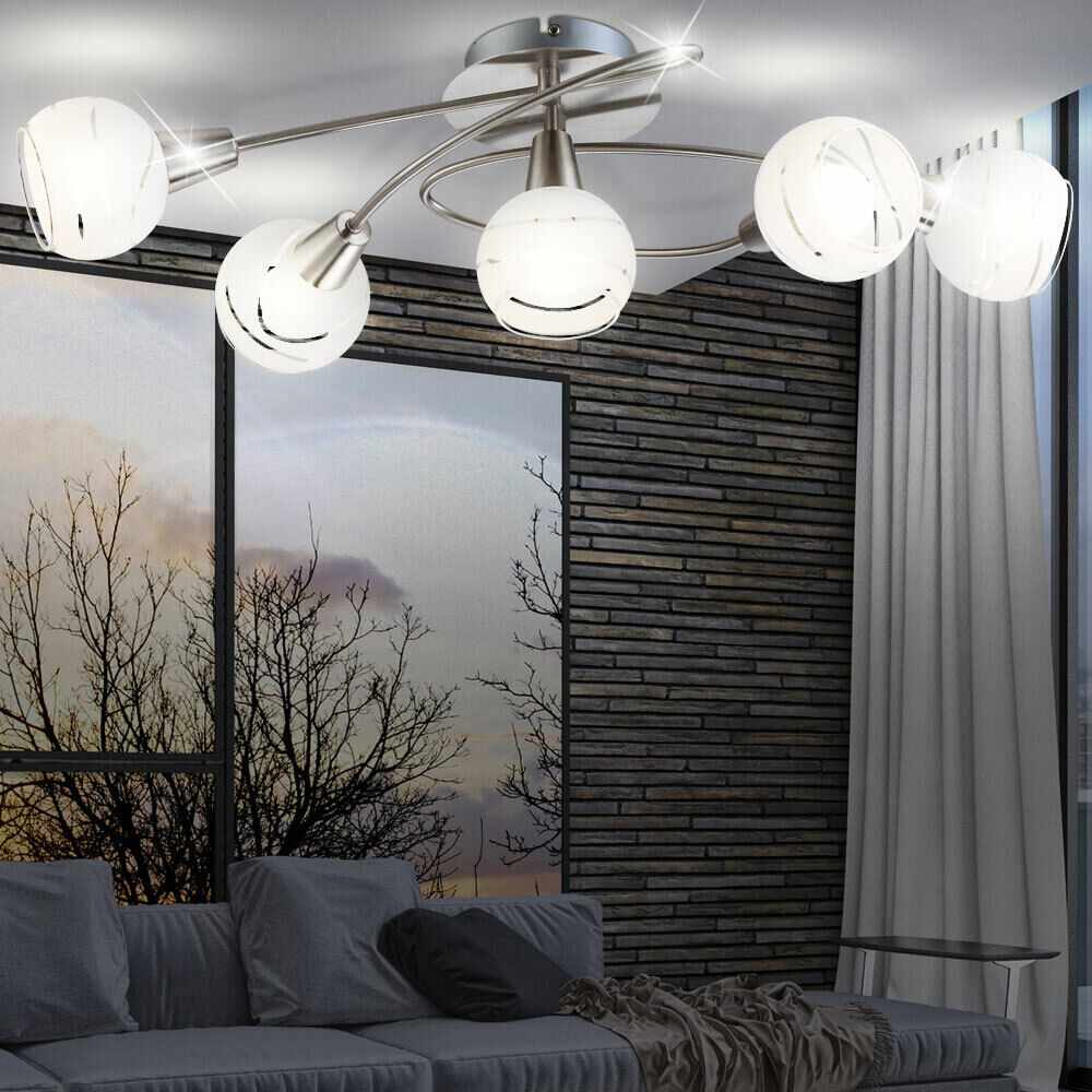 led 20 watt decken leuchte esszimmer beleuchtung lampe deckenlampe nickel glas ebay. Black Bedroom Furniture Sets. Home Design Ideas