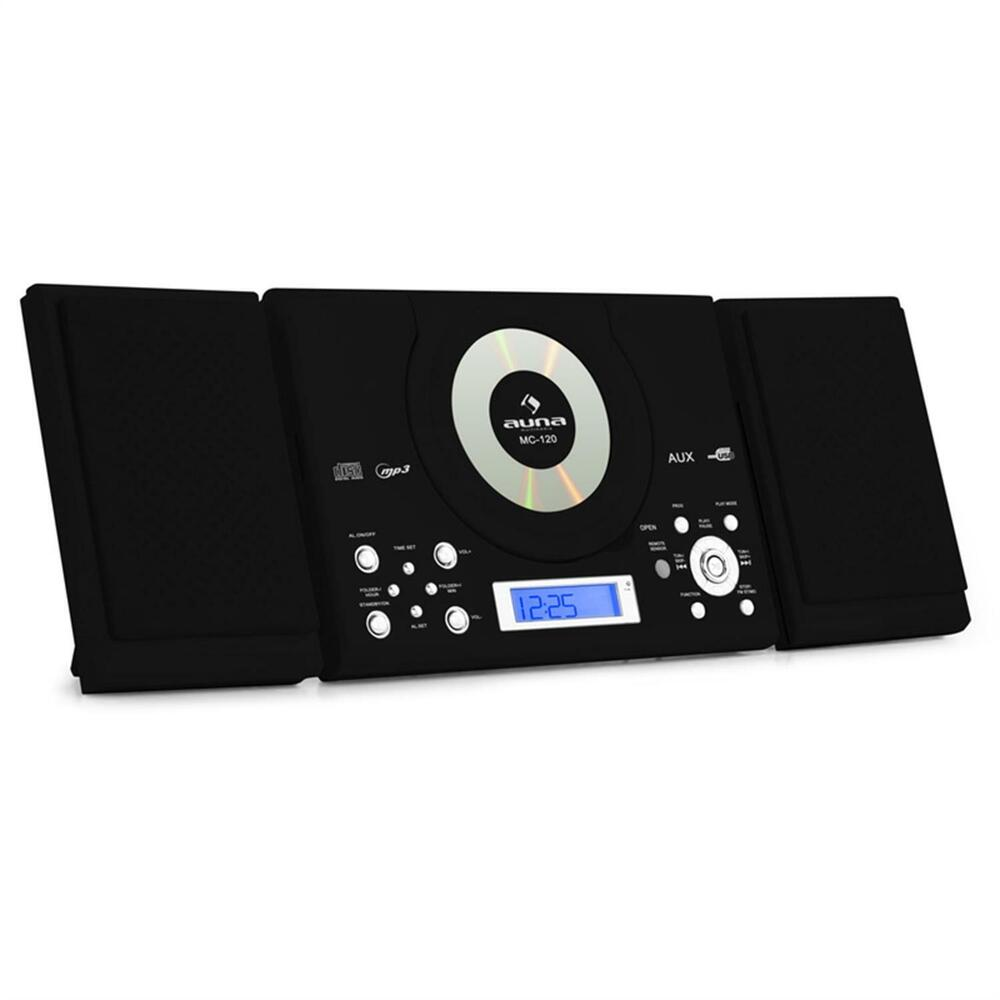 design mini stereo hifi anlage mp3 cd player ukw radio usb aux anlage schwarz ebay. Black Bedroom Furniture Sets. Home Design Ideas