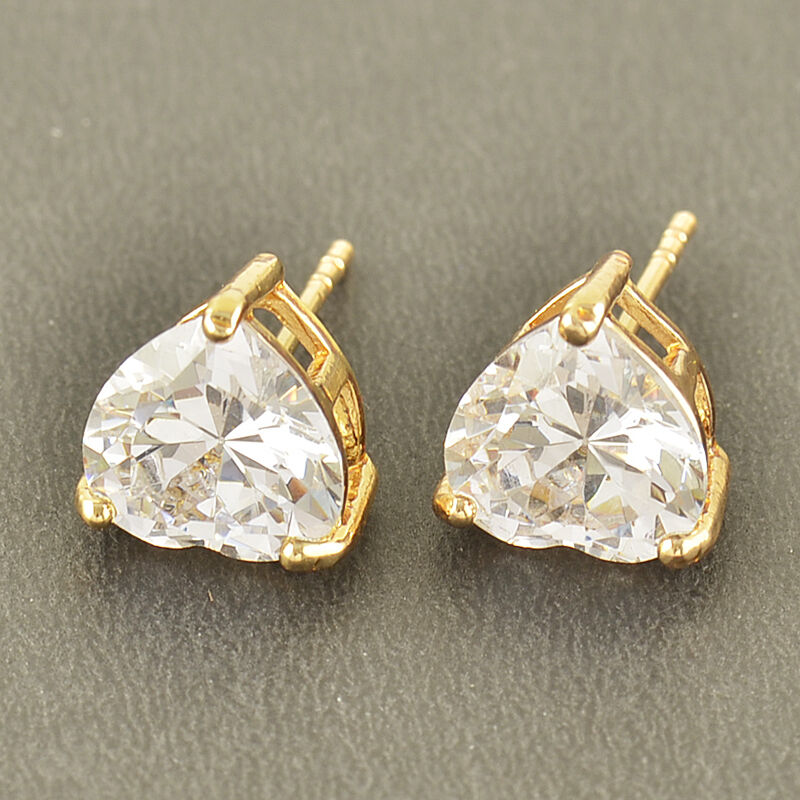 No Allergy 9K Solid Gold Filled Cubic Zirconia Heart Stud ...