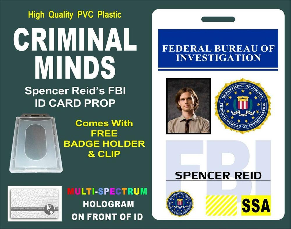 criminal minds id badge card prop spencer reid. Black Bedroom Furniture Sets. Home Design Ideas