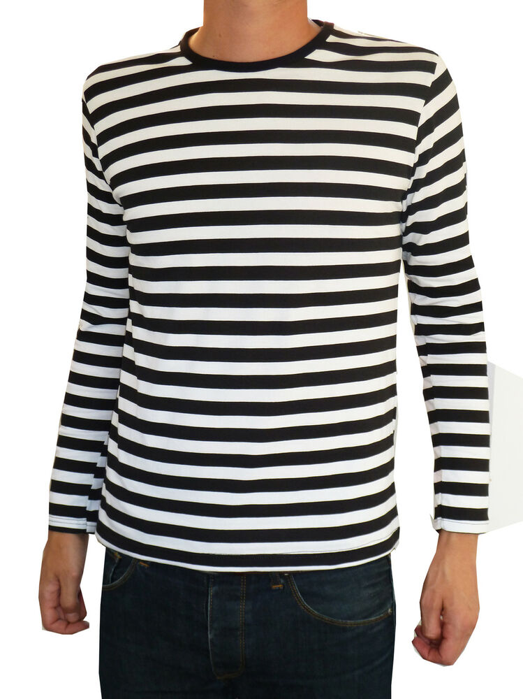 mens stripey t shirt tee black white nautical indie mod