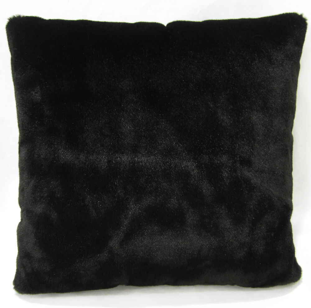 Fm847a Black Plain Soft Faux Fur Cushion Cover Pillow Case