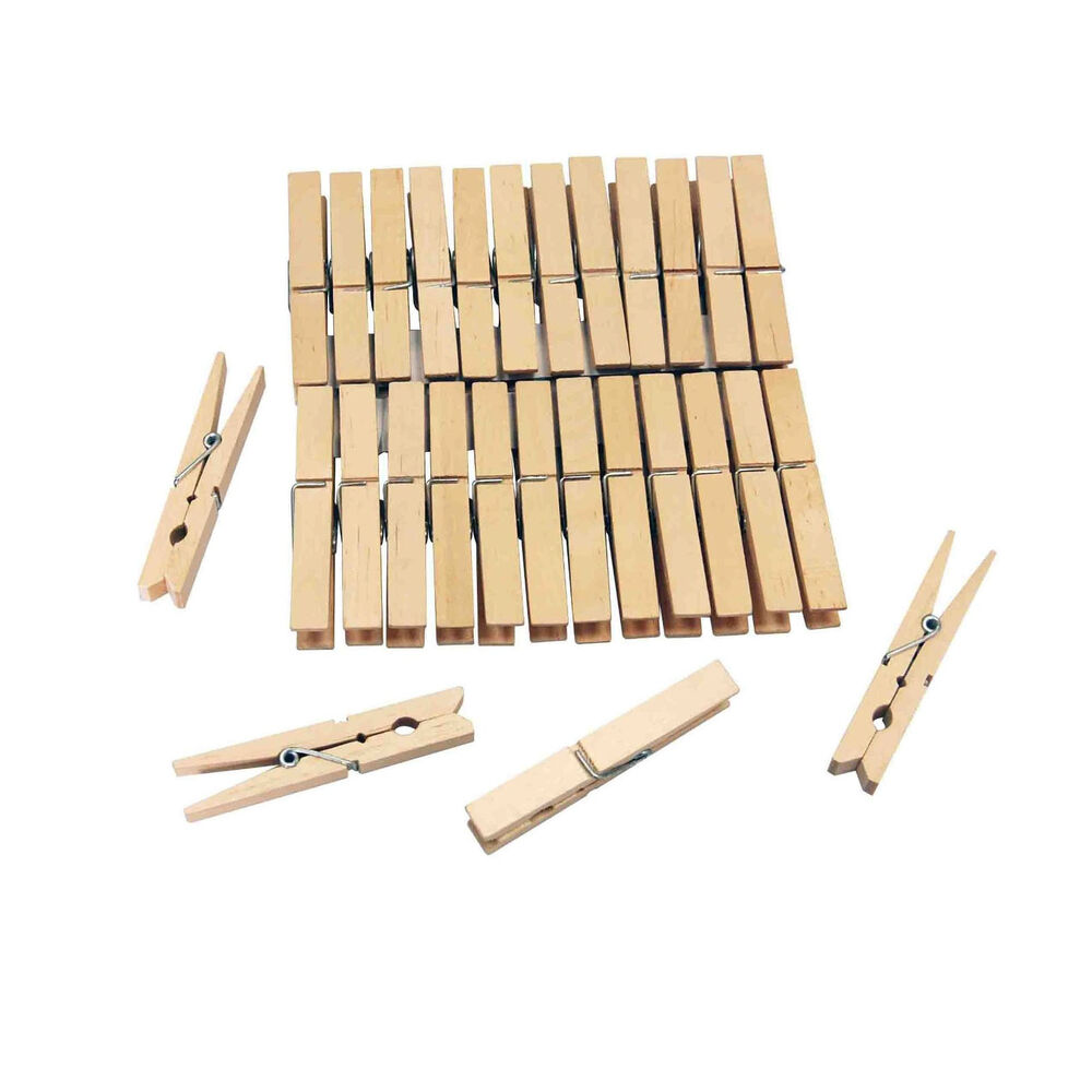 72 pcs wooden clothes hanging pegs airer coil washing for Picture hanging pegs