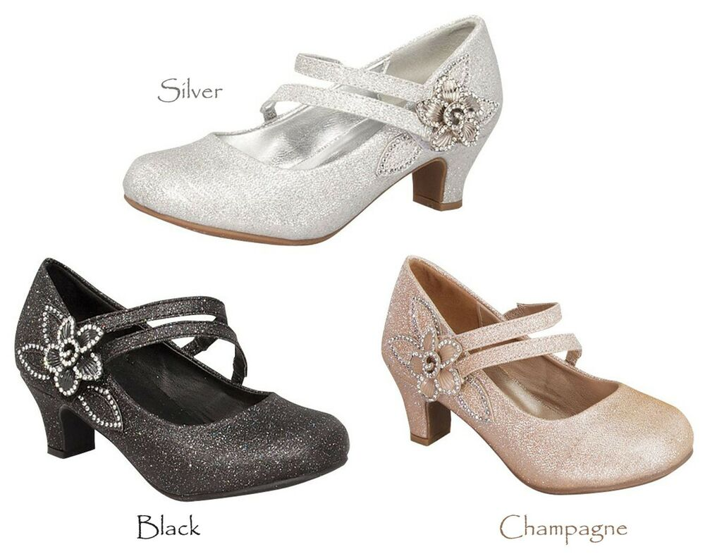 New Girls Black Champagne Gold Silver Dress Shoes Heels ...