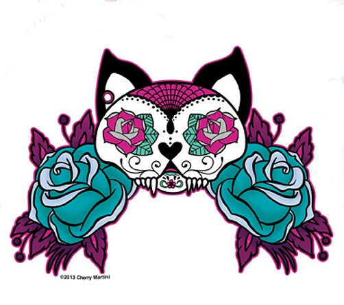 Cool White Cat Mexican Sugar Skull Tattoo Style Pink Amp Blue Roses Sticker Decal Ebay