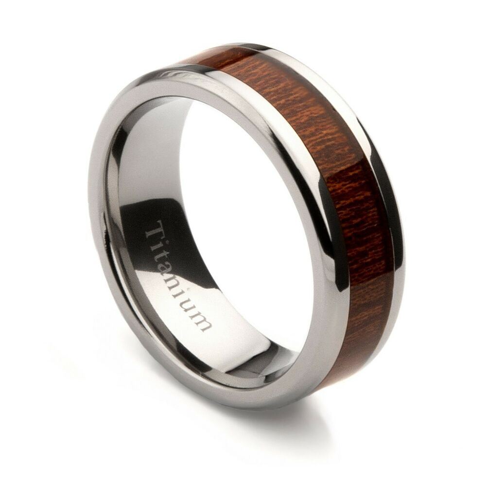 mens titanium wedding band with oak wood inlay 8mm ebay