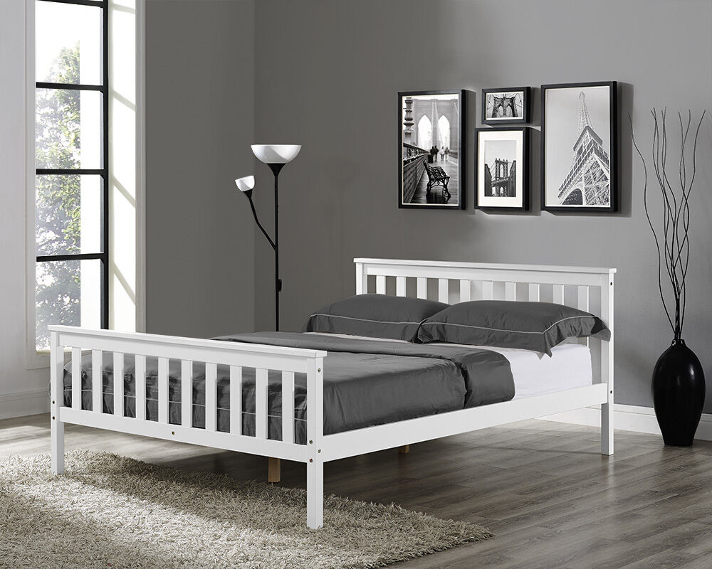 wooden bed frame white double king single size solid pine. Black Bedroom Furniture Sets. Home Design Ideas