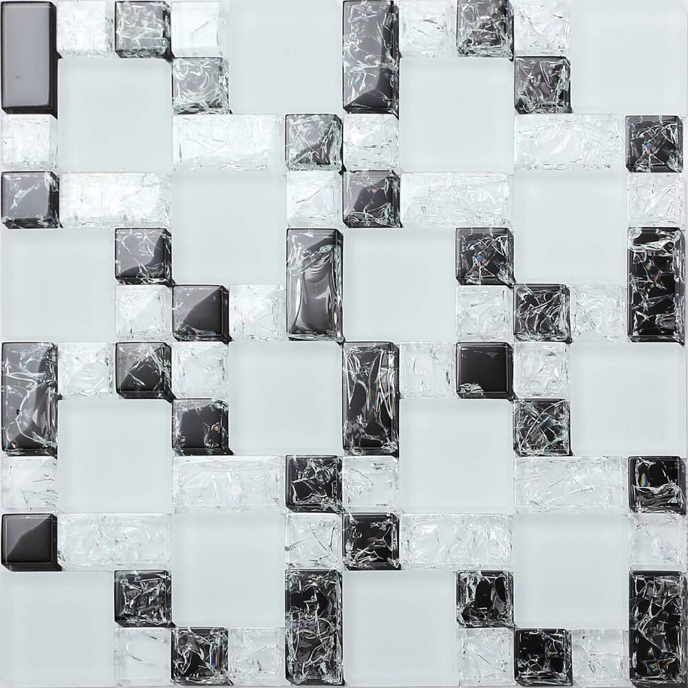 white crackle glass mosaic tile