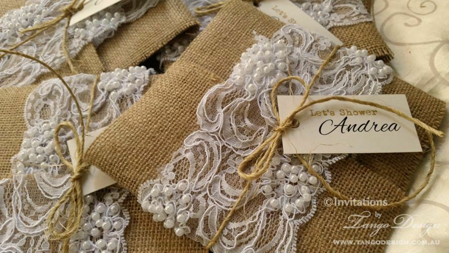 Wedding Invitations With Burlap: Hessian, Pearl And Lace Invitation SAMPLE Rustic Burlap