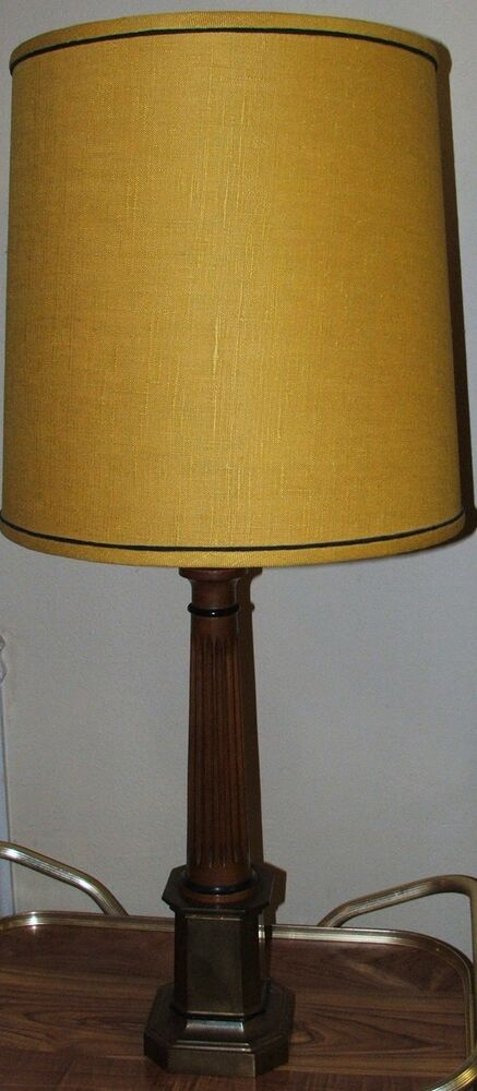 vtg frederick cooper brass wood light table lamp 37 tall gold fabric shade ebay. Black Bedroom Furniture Sets. Home Design Ideas