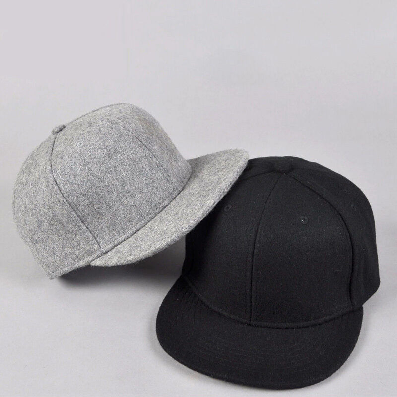 Black gray wool Snapback Baseball Hat Cap Plain Blank Flat ...