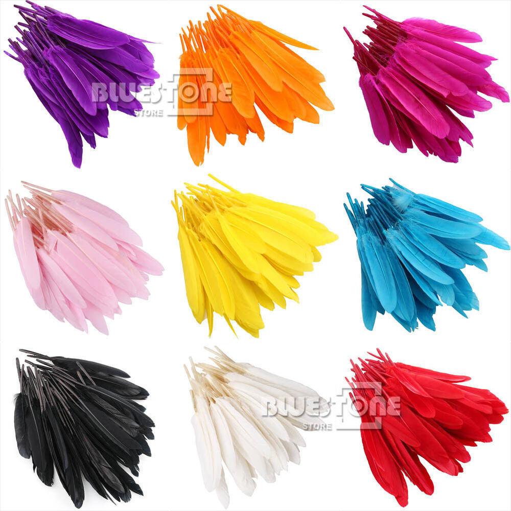 Wholesale 100pcs goose quill feathers 10cm to 15cm 4 7inch for Where can i buy feathers for crafts