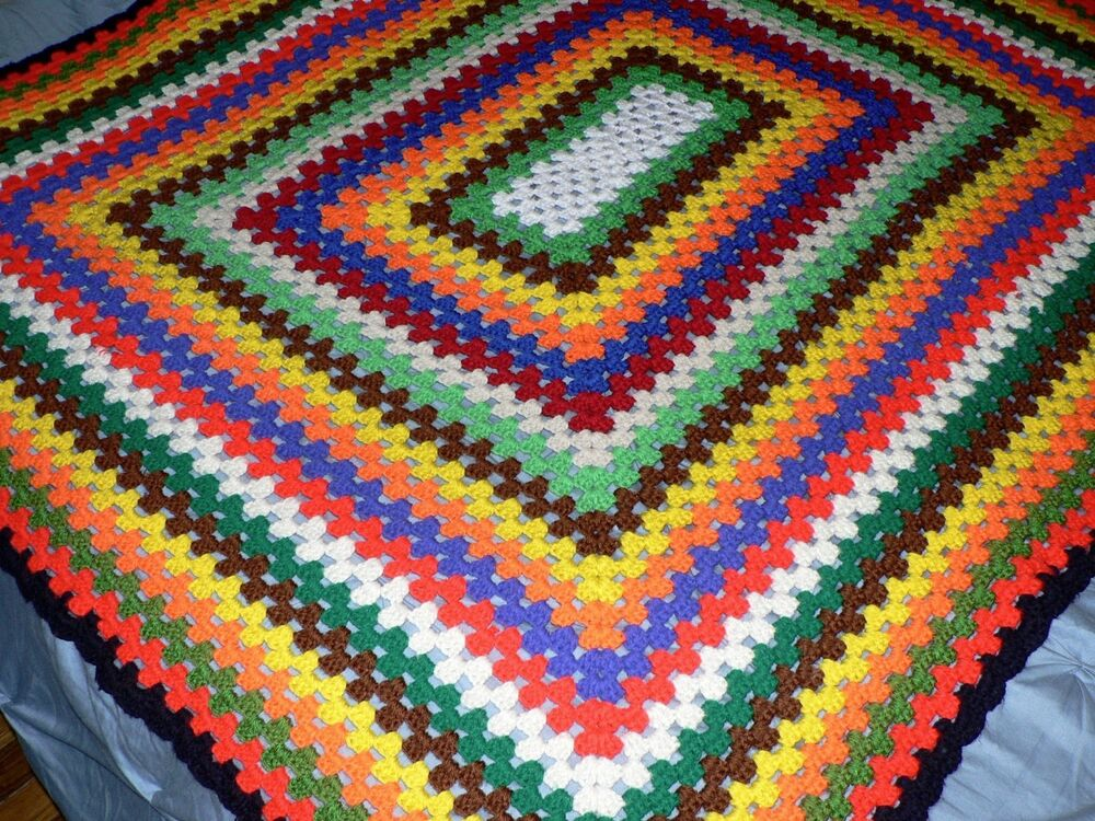 Handcrafted Crocheted Afghan Blanket Throw Multi Color ...