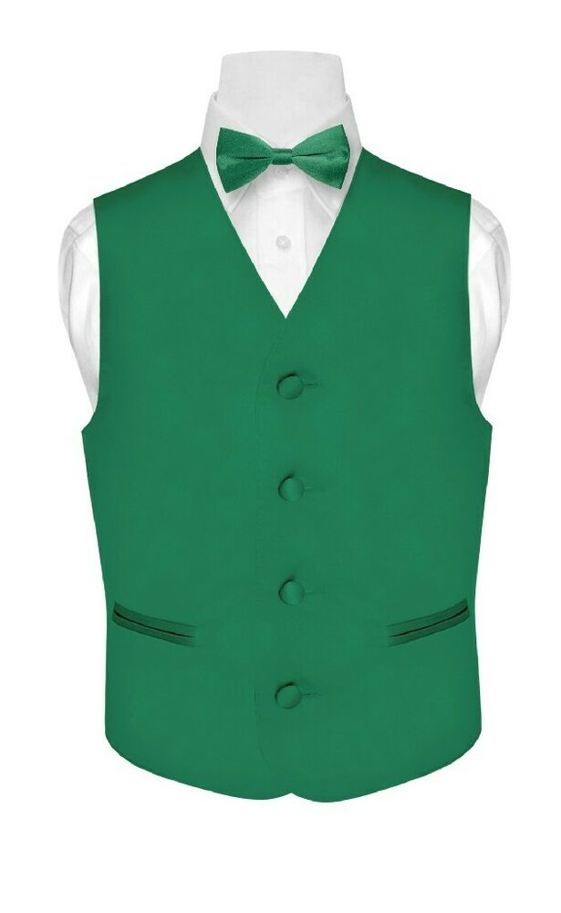 Boy S Dress Vest Amp Bow Tie Solid Emerald Green Color Bow
