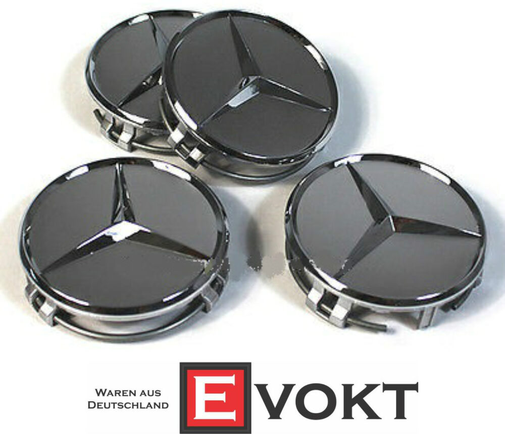 Mercedes benz amg hub caps titanium silver genuine new ebay for Mercedes benz hubcaps