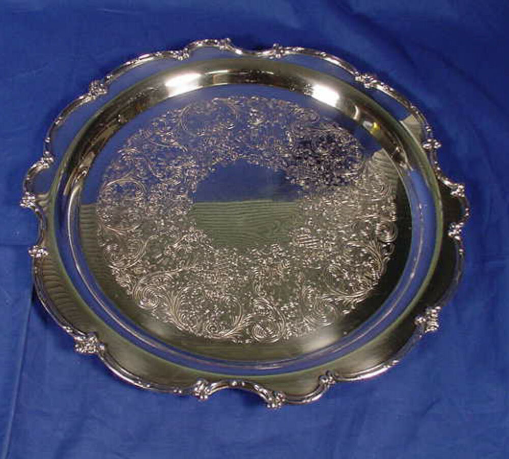 "Vintage 15"" Round Silver Plated Serving Tray 