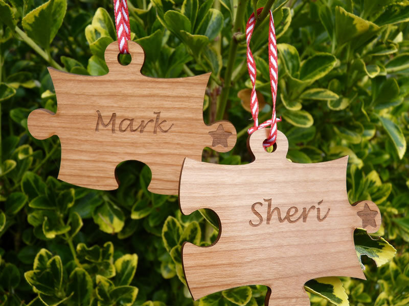 Pair of personalised christmas decorations couple jigsaw for Personalised christmas decorations