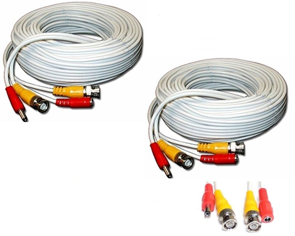 2 Unit Of 100 Feet White Bnc Video Dc Power Siamese Cables