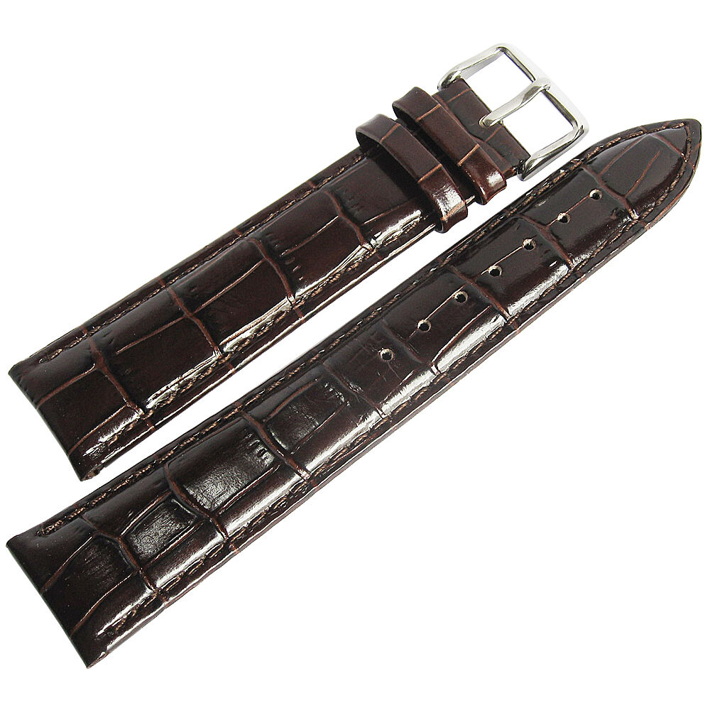 19mm debeer mens long brown crocodile grain leather watch band strap ebay for Leather strap watches
