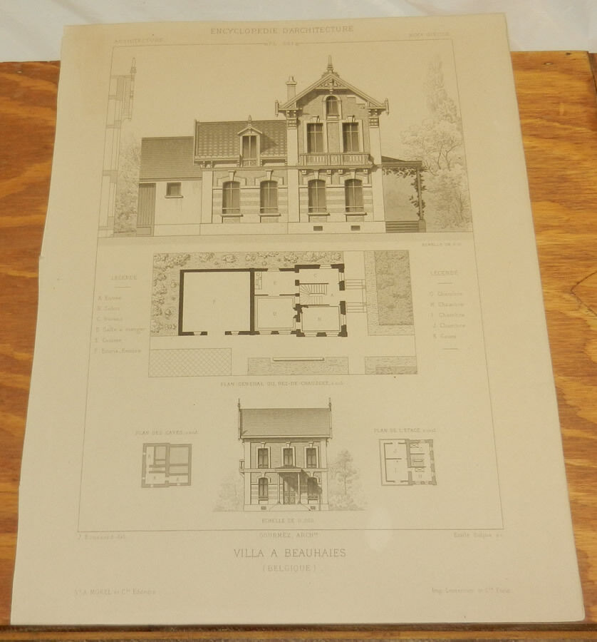 C1880 antique architecture print plan of an architectural for Copy architectural plans