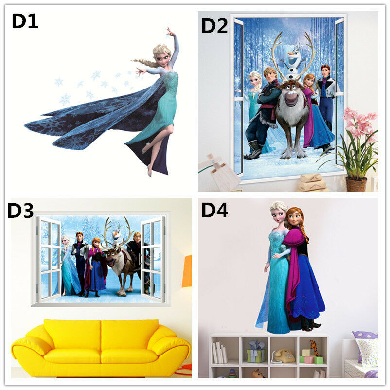 Elsa anna disney frozen princess wall stickers decals for Anna decoration in home
