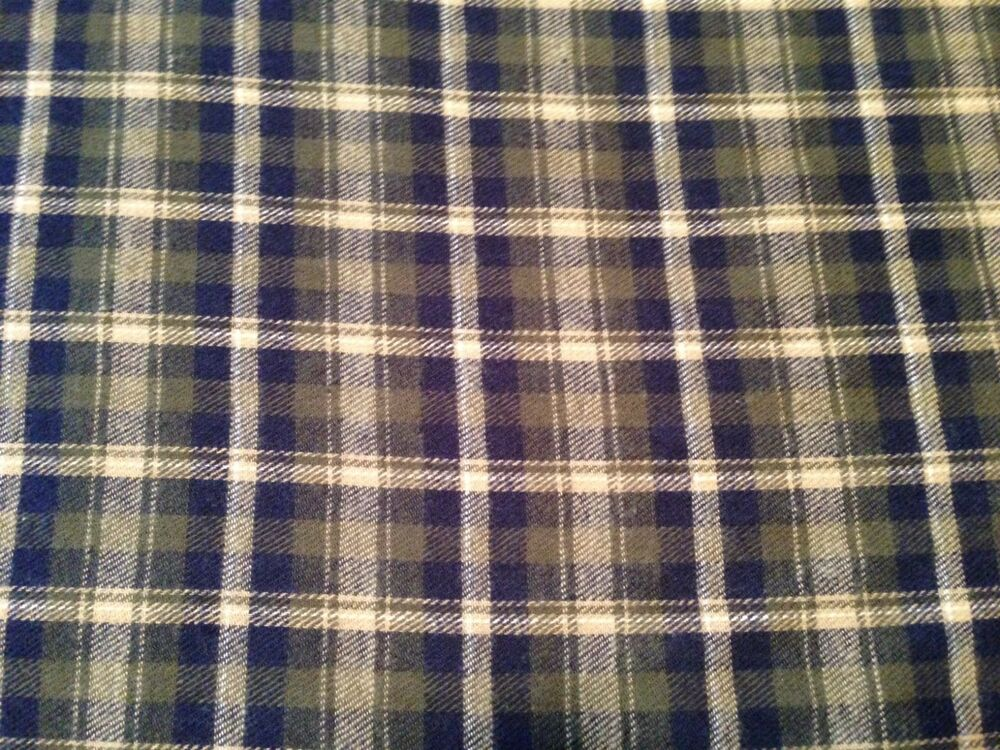 Navy and sage green plaid flannel fabric by the yard f22 for Flannel fabric
