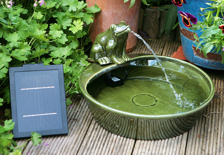 Bowl Water Feature Fountain Solar Powered Frog Pond