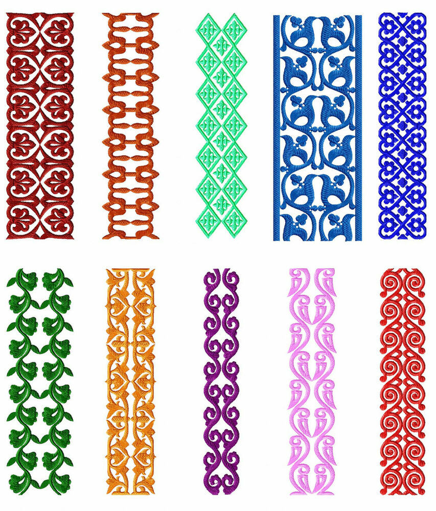 Borders 10 Machine Embroidery Designs Set For Large Hoop