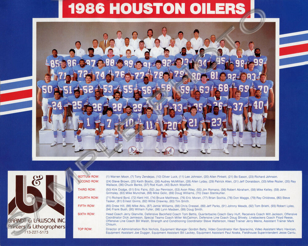 1986 Houston Oilers Nfl Football Team 8x10 Photo Picture