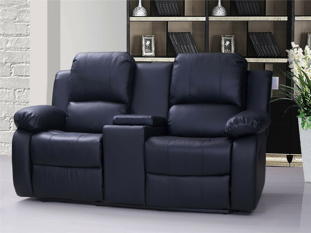 Modern Valencia 2 Seater Leather Recliner Sofa With Drinks Console Black Photos - New two seat reclining sofa Modern