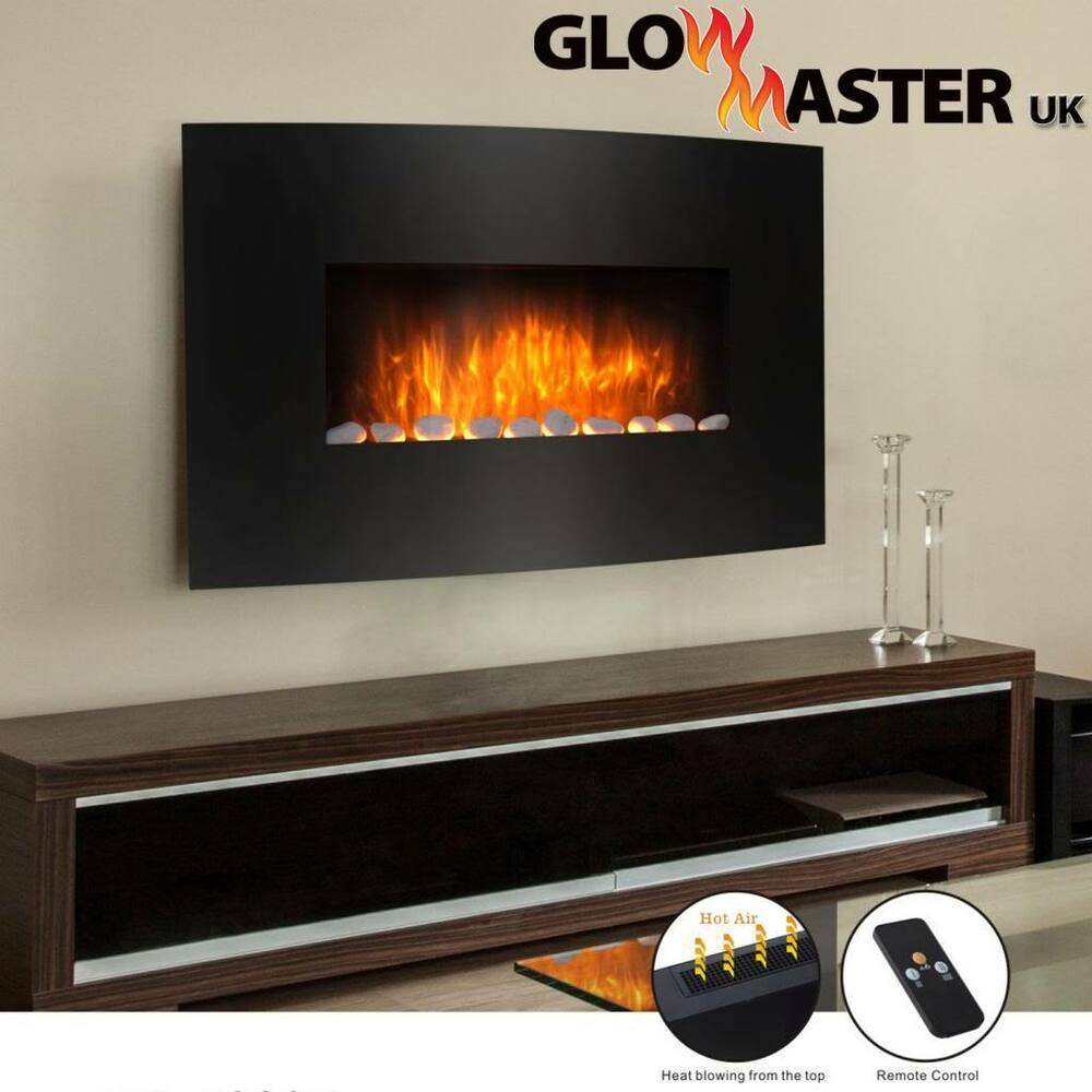 wall mounted curved glass electric fireplace fire heater slim design flicker ebay. Black Bedroom Furniture Sets. Home Design Ideas
