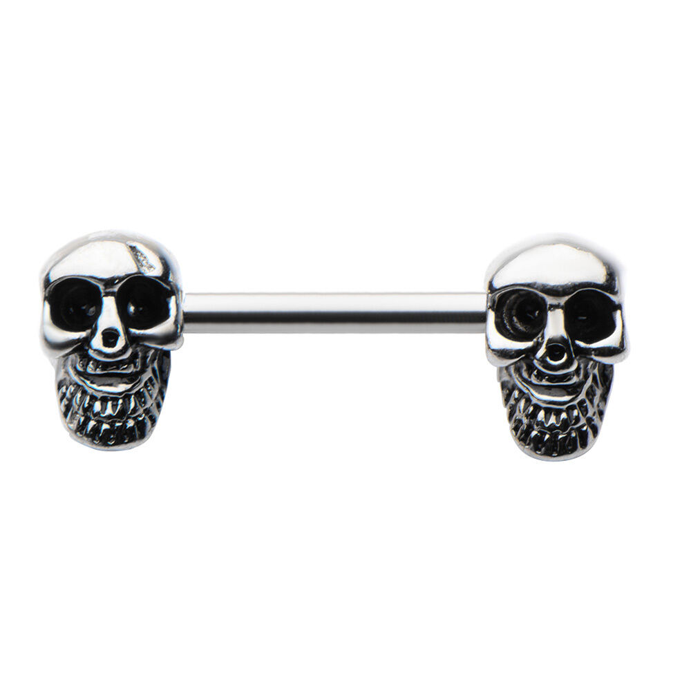 Skull on ends nipple bar ring body piercing jewelry 14g for Day of the dead body jewelry
