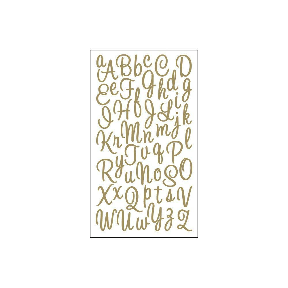 Scrapbooking stickers sticko gold glitter script alphabet for Sticko letters