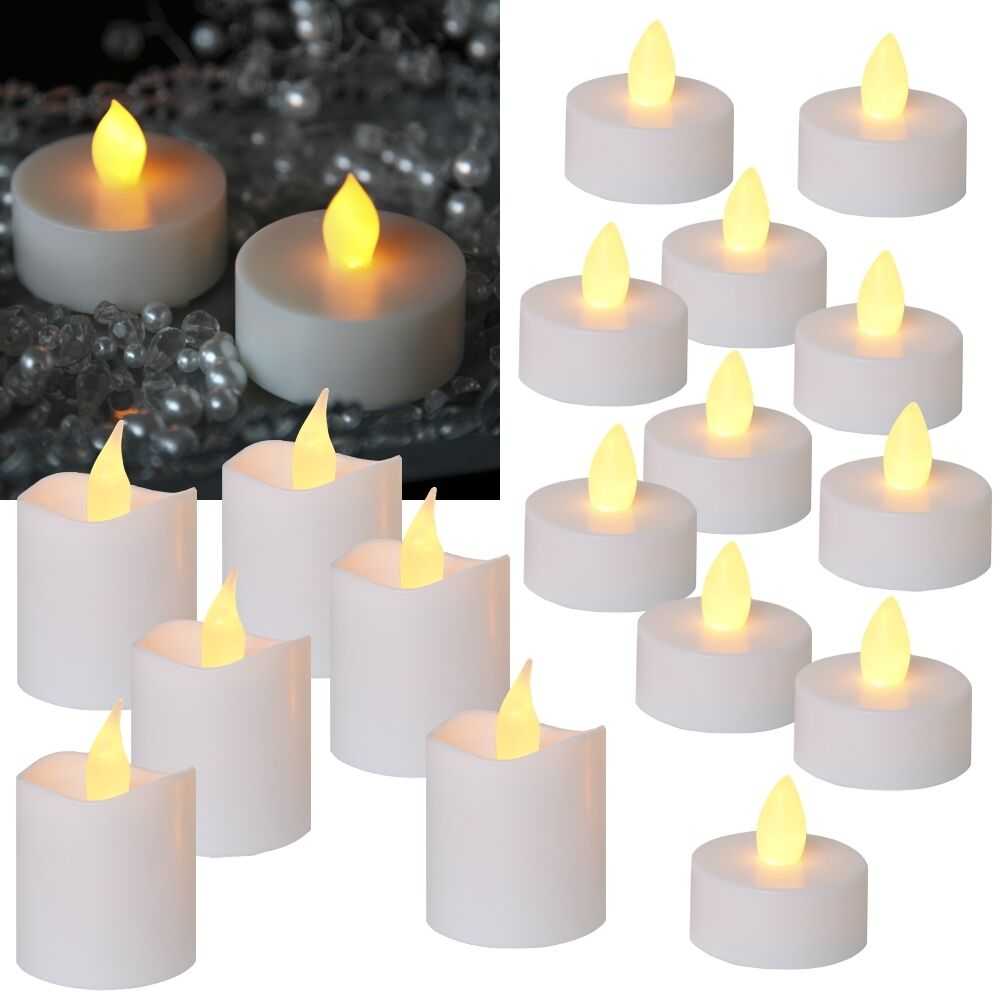 16 tlg set led teelichter kerzen basic set flammenlose flackernde candle ebay. Black Bedroom Furniture Sets. Home Design Ideas