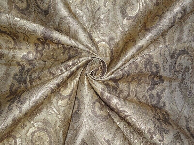 brocade fabric dark beige light gold color 44 ebay. Black Bedroom Furniture Sets. Home Design Ideas