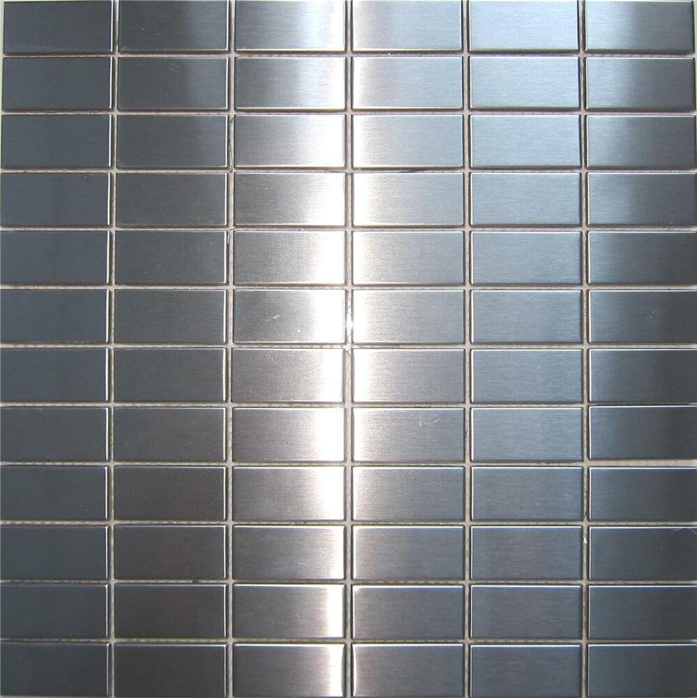 Stainless Steel Brushed Metal Mosaic Wall Tiles Shower Splashback Bathroom 037 Ebay