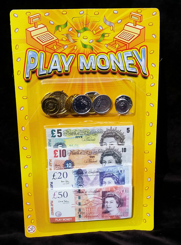 Play Money Toy : Pretend fake role play money coins notes kids toy fun