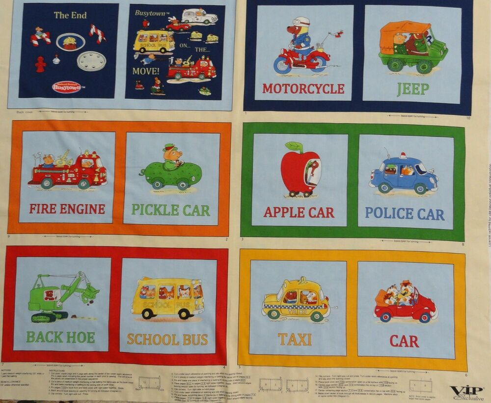 Educational vehicle fabric book children 39 s illustrated for Children s fabric panels