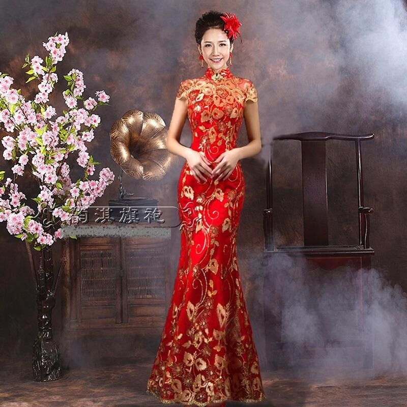 Chinese wedding dress kua kwa qipao cheongsam 2c custom for Chinese style wedding dress