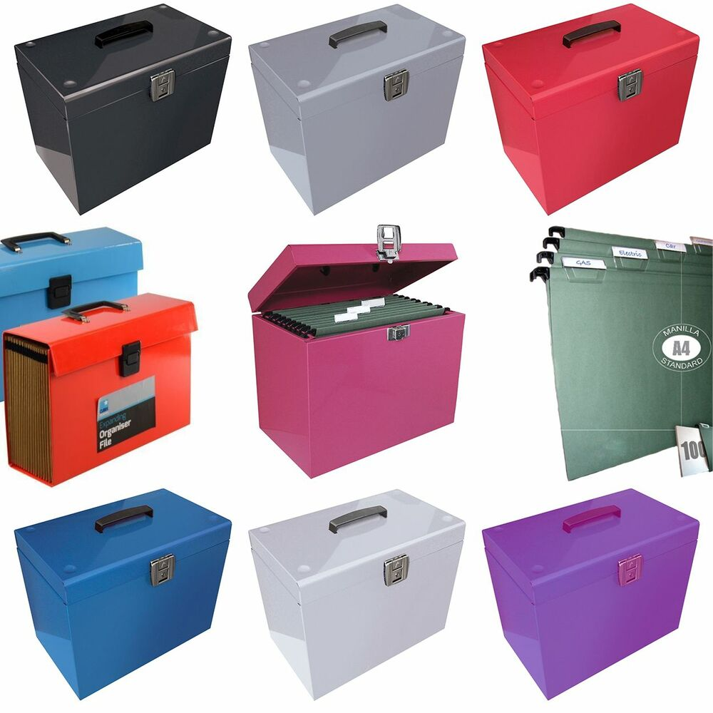 File storage box with metal strip