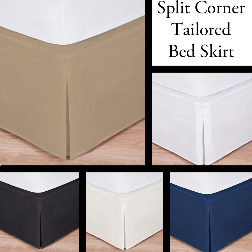 Luxury hotel bed skirt tailored pleat queen size 14 for Luxury hotel 660 collection bed skirt