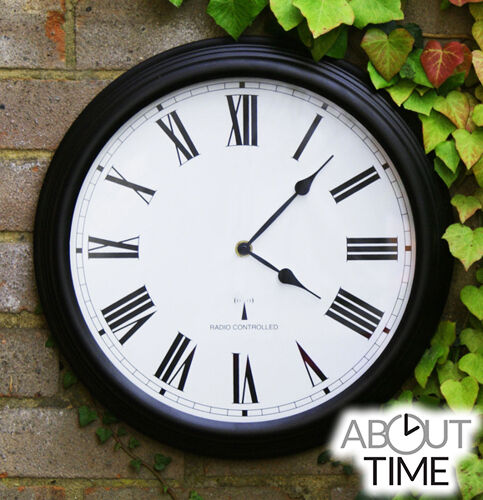 Radio Controlled Outdoor Garden Wall Clock Black Round Ebay
