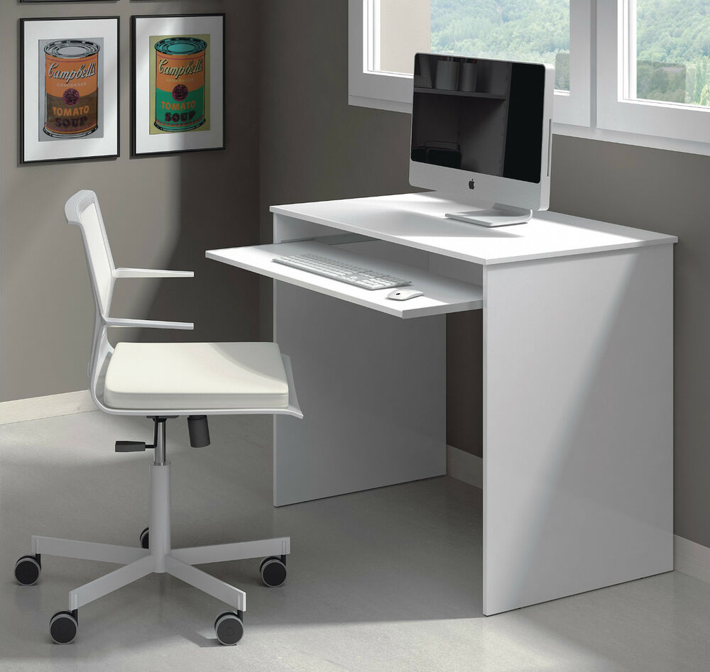 milan compact computer desk white gloss ebay. Black Bedroom Furniture Sets. Home Design Ideas