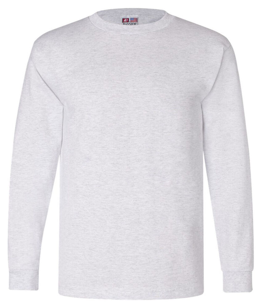 Bayside Mens Heavyweight Cotton Long Sleeve Classic