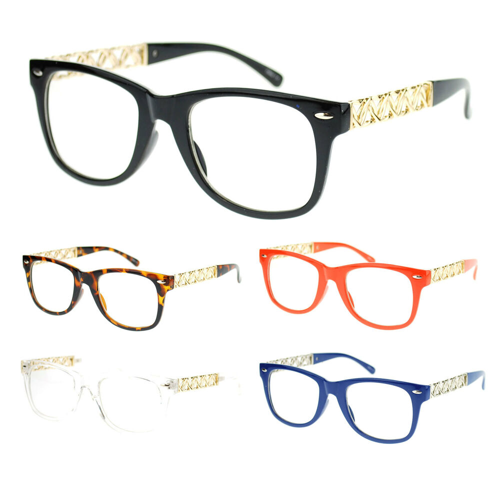 Wire Frame Glasses Vs Plastic : Womens Heart Metal Chain Arm Horn Rim Plastic Frame Nerdy ...