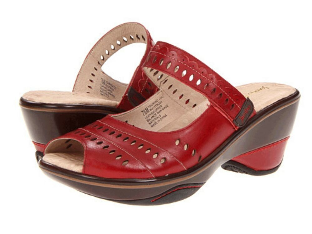 Red Wedge Peep Toe Shoes