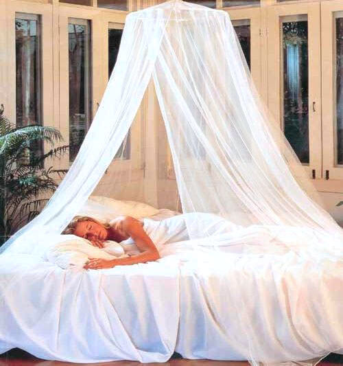 Dreamma Elegant White Round Bed Canopy Net Mosquito