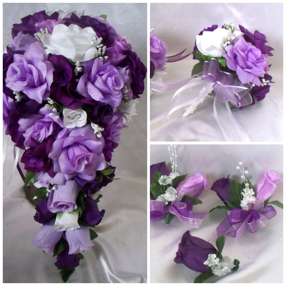 Lavender Rose Gypsophila Bridal Bouquet: Wedding Bridal Bouquet Cascade Lavender Purple Silk Rose
