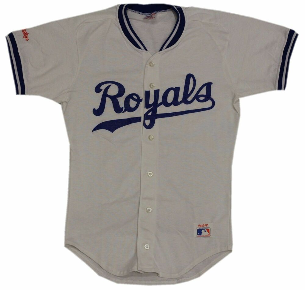 kansas city royals vintage white button up jersey t shirt