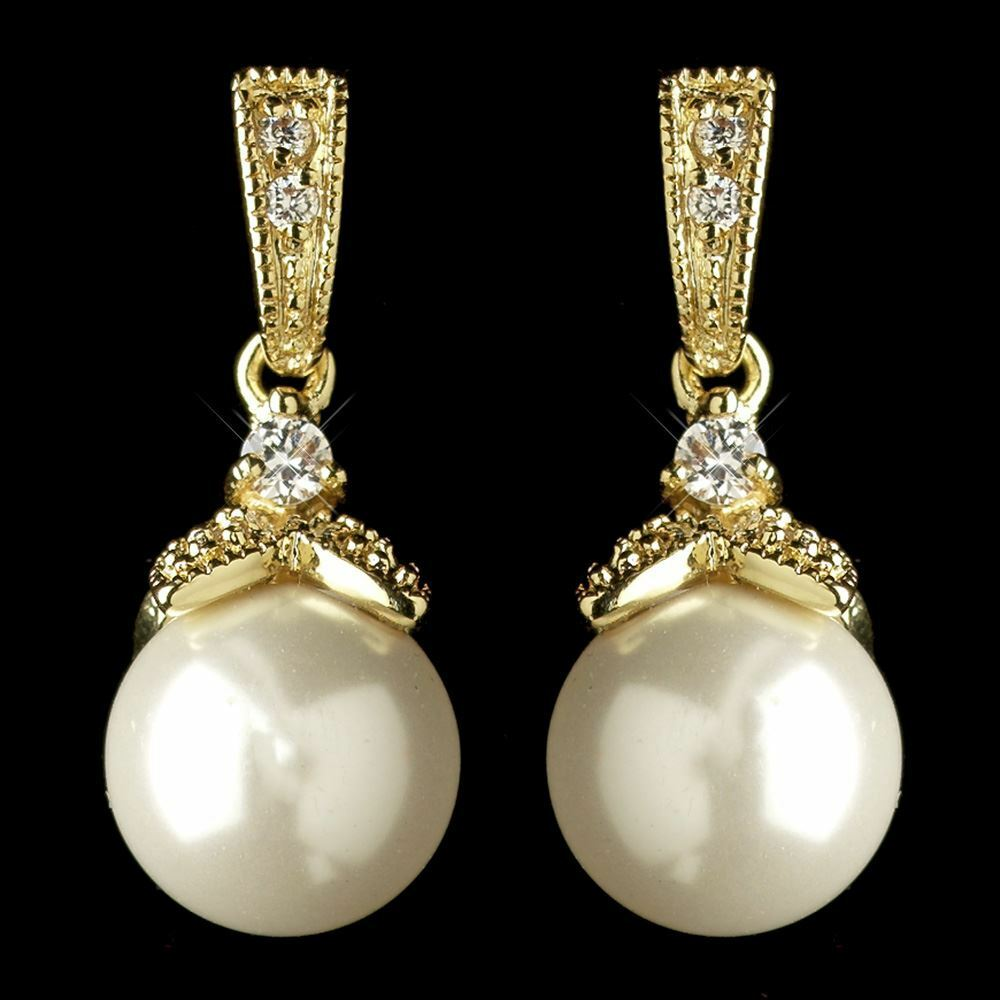 Wedding Earrings White Gold: Bridesmaid Earrings Gold Diamond White Faux Pearl & CZ